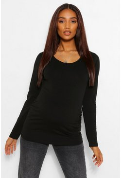 White Maternity Scoop Neck Long Sleeve Tshirt