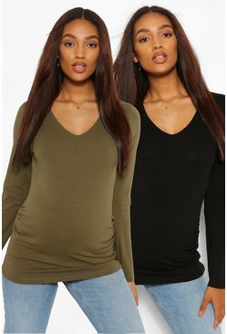 Khaki Maternity 2pk V Neck Long Sleeve Tshirt