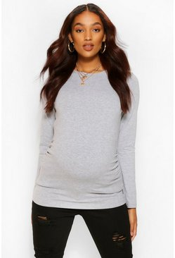 White Maternity Long Sleeve Crew Neck Top