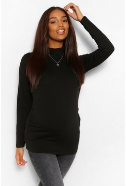 Black Maternity Roll Neck Long Sleeve Top