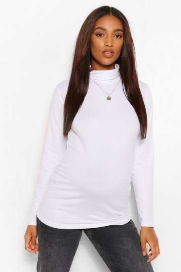 White Maternity Roll Neck Long Sleeve Top