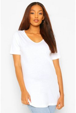 White Maternity V Neck Side Split Tshirt