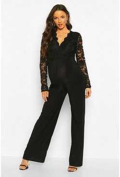 Black Maternity Lace Wide Leg Jumpsuit