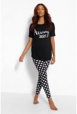 Black Maternity Arriving 2021 Pj Pants Set