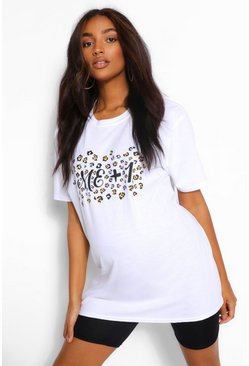 White Maternity Leopard Print Me+1 Graphic T-Shirt