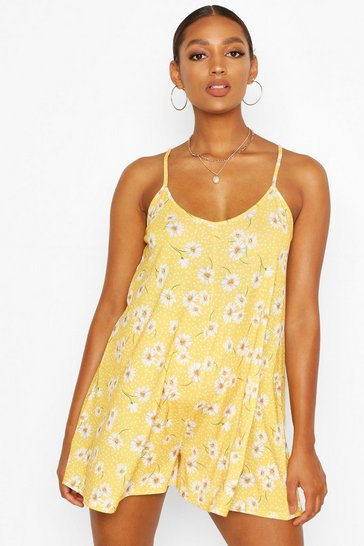 Mustard yellow Maternity Floral Swing Playsuit
