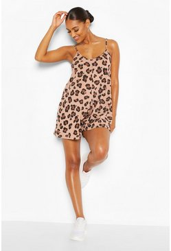 Tan brown Maternity Leopard Rib Swing Playsuit