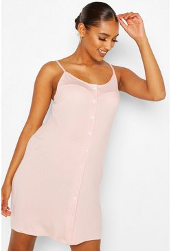 Pale pink Maternity Strappy Button Front Nursing Nightie