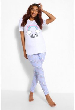 Blue Maternity Rainbow Mama Pj Pants Set