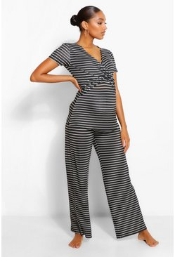 Black Maternity Wrap Stripe Nursing PJ Trouser Set