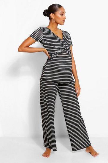 Black Maternity Wrap Stripe Nursing PJ Trouser Set