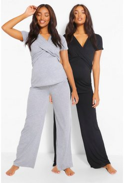 Black Maternity 2pk Wrap Nursing Pyjama Trouser Set