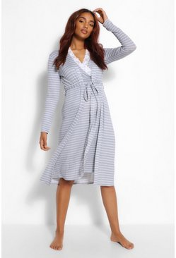 Grey marl grey Maternity Stripe Nursing Nightie And Robe Set