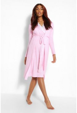 Pale pink pink Maternity Stripe Nursing Nightie And Robe Set