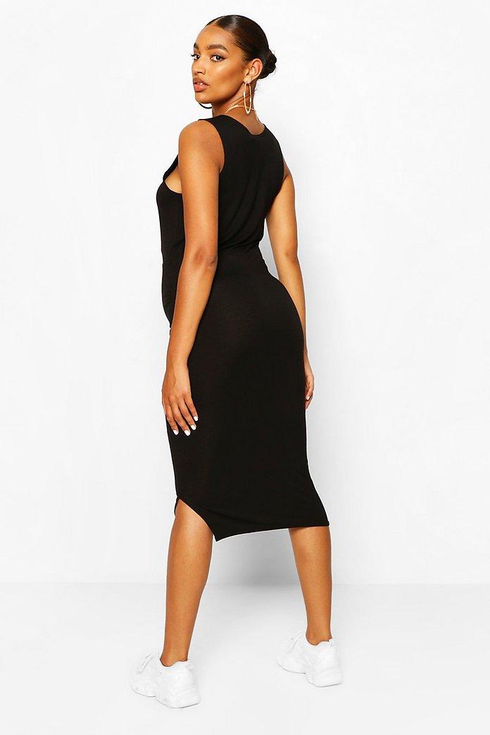 JO39.1 BOOHOO MATERNITY Side Split Black Dress