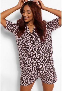 Rose pink Maternity Leopard Pipe Detail PJ Short Set