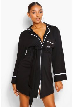 Black Maternity Mama Pipe Detail Dressing Gown