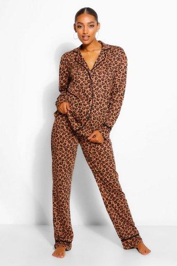 Tan brown Maternity Leopard Print Pipe Detail PJ Trouser Set