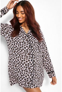 Rose Maternity Leopard Print Pipe Detail Nightie