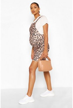 Tan brown Maternity Leopard Print Pinafore Dress