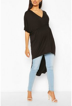 Black Maternity Ruched Front Tunic Top