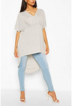 Grey marl Maternity Ruched Front Tunic Top