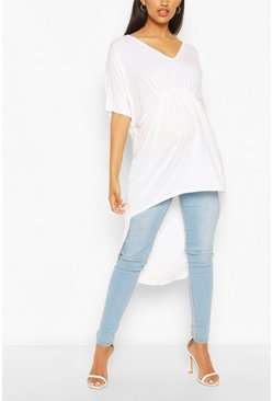 White Maternity Ruched Front Tunic Top