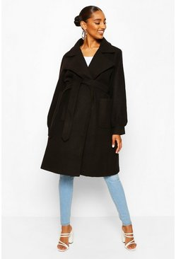 Black Maternity Wrap Pocket Front Coat