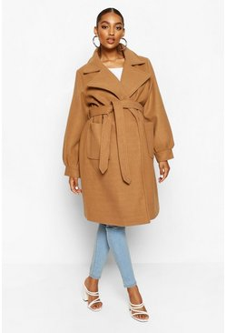 Camel beige Maternity Wrap Pocket Front Coat