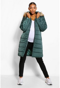 Midnight green green Maternity Padded Faux Fur Trim Coat