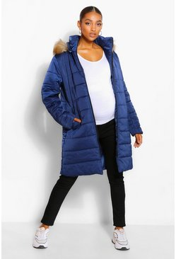 Navy Maternity Padded Faux Fur Trim Coat