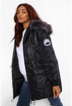 Black Maternity Faux Fur Trim Parka Coat