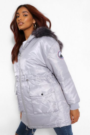Grey Maternity Faux Fur Trim Parka Coat