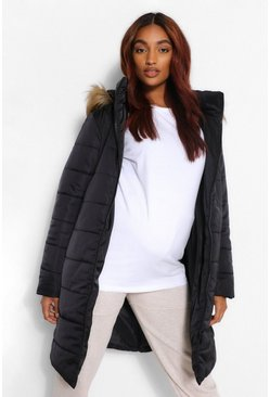 Black Maternity Padded Faux Fur Trim Coat