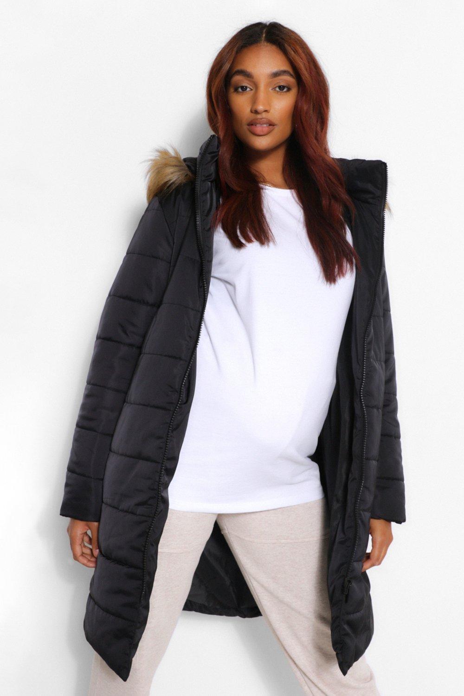 COATS & JACKETS Maternity Padded Faux Fur Trim Coat