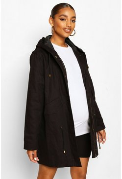 Black Maternity Parka Coat