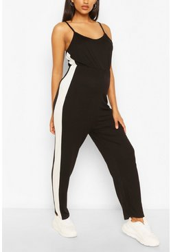 Black Maternity Side Stripe Lounge Romper