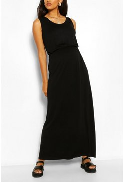 Black Maternity Scoop Neck Shirred Maxi Dress