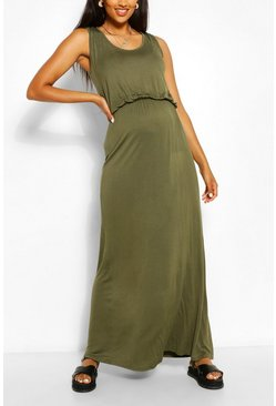 Khaki Maternity Scoop Neck Shirred Maxi Dress