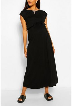 Black Maternity Cap Sleeve Shirred Waist Maxi Dress