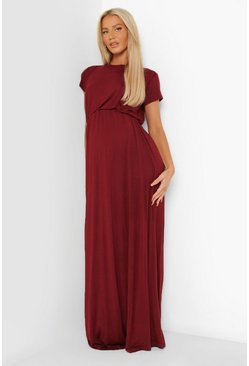 Wine red Maternity Cap Sleeve Shirred Waist Maxi Dress