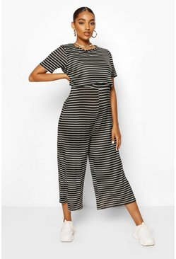 Black Maternity Stripe Nursing Culotte Jumpsuit