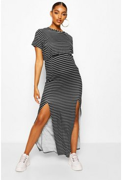 Black Maternity Stripe Split Front Nursing Maxi Dress