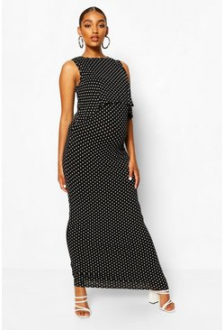 Black Maternity Polka Dot Nursing Maxi Dress