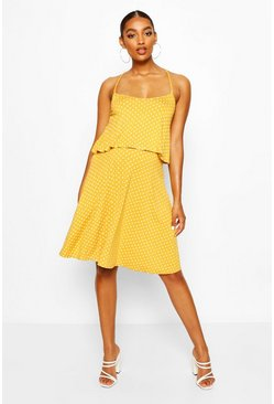 Mustard Maternity Polka Dot Ruffle Nursing Sundress
