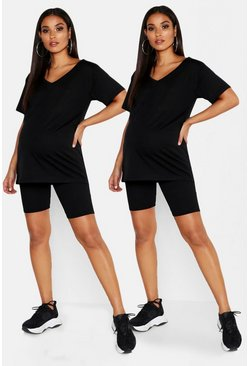 Black Maternity 2 Pck Rib Biker Short