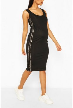 Black Maternity Leopard Print Side Stripe Midi Dress