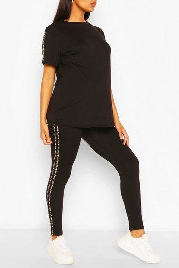 Black Maternity Leopard Side Stripe Loungewear Set