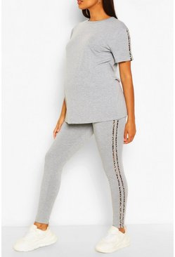 Grey marl grey Maternity Leopard Side Stripe Lounge Set