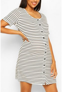 White Maternity Stripe Button Front Nightie